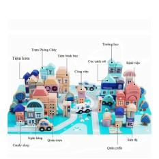 Đồ chơi mô hình lắp ghép thành phố bằng gỗ cao cấp Urban Building Block 133 chi tiết