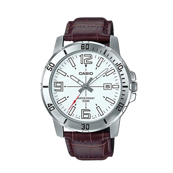 Đồng hồ nam Casio MTP-VD01L-7BVUDF Dây da nâu mặt trắng trẻ trung nam tính