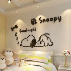 Cartoon Snoopy puppy 3D dán tường ba chiều cho phòng trẻ em, mẫu giáo, phòng khách, dán tường trang trí đầu giường phòng ngủ