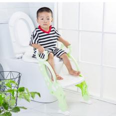 Ghế ngồi bồn cầu có thang vịn an toàn cho bé – Ghế ngồi vệ sinh cho bé