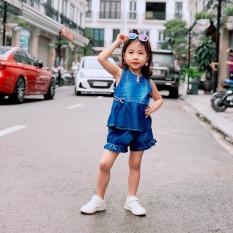 Bộ jeans bé gái 7-20kg phối 3 khuy cực xinh xắn, chất bò 100% cotton