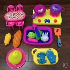 [Hàng VN] Túi đồ chơi nhà bếp nấu ăn gồm bồn rửa chén kèm phụ kiện rau quả y hình dành cho bé