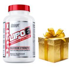 Thực phẩm chức năng hỗ trợ đốt mỡ Nutrex Research Lipo 6 Stim – free – hộp 120 viên + Bánh protein hoặc Dây nhảy