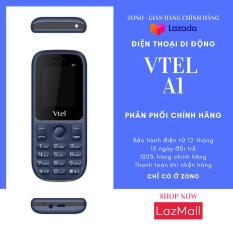 Điện thoại di động GSM Vtel A1 (2 SIM, Màu Xanh Đen) bàn phím ấn êm tay, Giao diện đơn giản, Có chức năng FM loa ngoài, Camera sau, Pin bền, Thiết kế thời trang, Dễ sử dụng, Vừa túi tiền, 2 SIM 2 sóng – Bảo Hành 12 Tháng