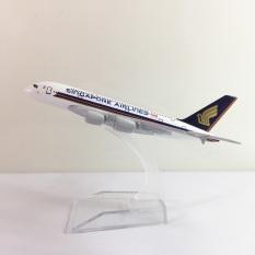 Mô hình máy bay kim loại Singapore Airlines dòng Airbus A380 16cm món quà tặng mô hình tĩnh die-cast trưng bày bàn làm việc, kệ ti-vi, giá sách