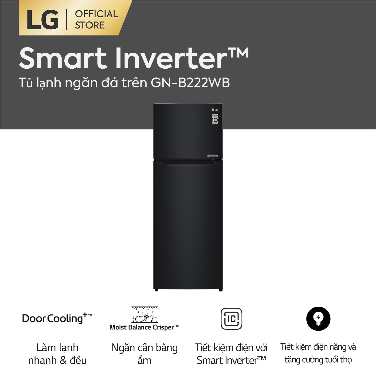 [FREESHIP 500K TOÀN QUỐC] Tủ lạnh LG Smart Inverter ngăn đá trên GN-B222WB 209L (Đen) – Hãng phân phối chính thức