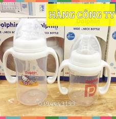 (Tặng 1 Núm) Bình Sữa Cổ Rộng Có Tay Cầm 180ml/240ml Dolphin | Dp019AB