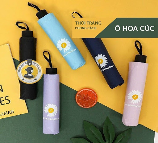 Ô Dù Hàn Quốc Chống Tia UV Hình Hoa Cúc, Chất Liệu Vải Dù Mật Độ Cao, Chống Nước Tuyệt...