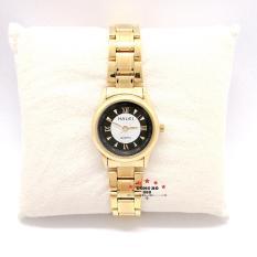 Đồng hồ nữ HALEI dây kim loại thời thượng ( HL489 dây vàng mặt đen ) – TẶNG 1 vòng tỳ hưu phong thuỷ