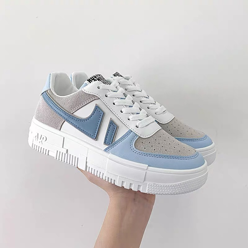giày thể thao nữ 666 xanh đế trắng