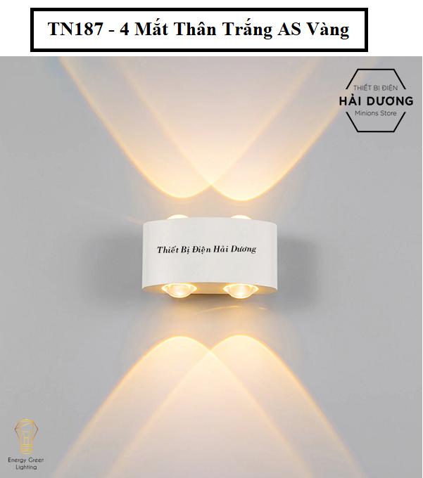 Đèn trang trí hắt tường 2 đầu – 4w/6w chống nước TN187-TN188 (Đen/Trắng). Sản phẩm chống thấm nước, bền bỉ với thời gian, có thể sử dụng ngoài trời