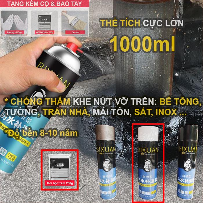 1000ml - Bình xịt sơn chống thấm nước đa năng Bixuan, chống thấm tường trần nhà, chống thấm mái nhà,...