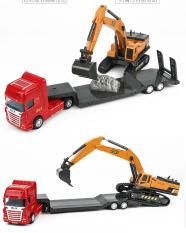 Xe đồ chơi mô hình xe đầu kéo xe xúc (gồm 2 xe) chất liệu nhựa ABS an toàn, chi tiết sắc sảo kích thước lớn