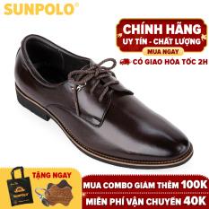 Giày nam, Giày tây công sở da bò cột dây SUNPOLO SPH286 (Nâu đất, Nâu bò)