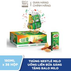 [Tặng 1 balo Milo Buổi Sáng] Thùng 36 Hộp Nestlé MILO Uống Liền Bữa Sáng – 12 lốc x 3 hộp x 180ml