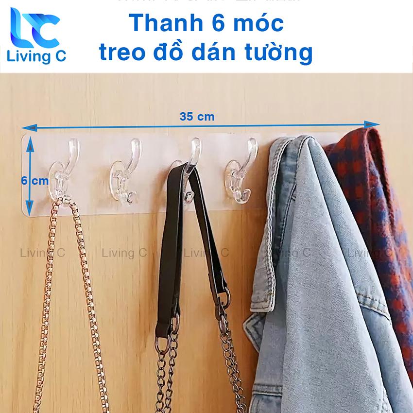Móc treo quần áo dán tường Living C, giá treo đồ 6 móc kép nhựa loại lớn không cần khoan...