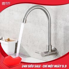 Vòi rửa chén lạnh gắn tường Inox SUS 304 chống rỉ size 26 x 18 cm (Trắng bạc)