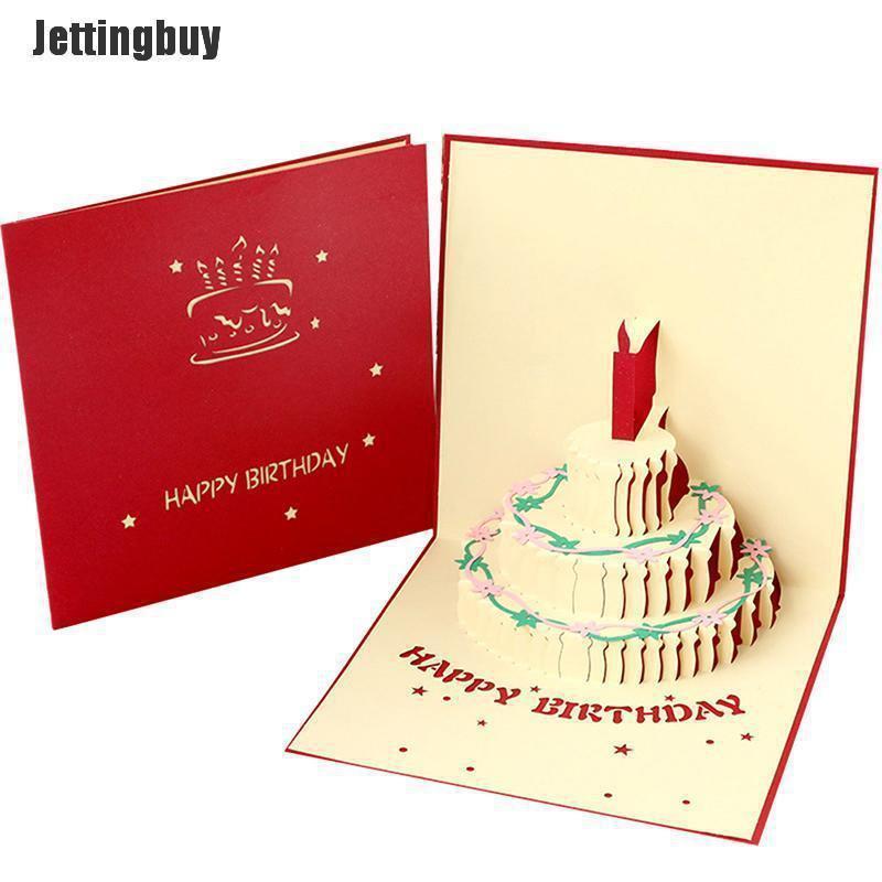 Jettingbuy Thẻ Quà Tặng Sinh Nhật 3D Chúc Mừng Phong Bì Bưu Thiếp Lời Mời Thủ Công Origami