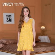 Đầm nữ Vincy thun sát nách cổ tim DDT010S91 (Vàng)