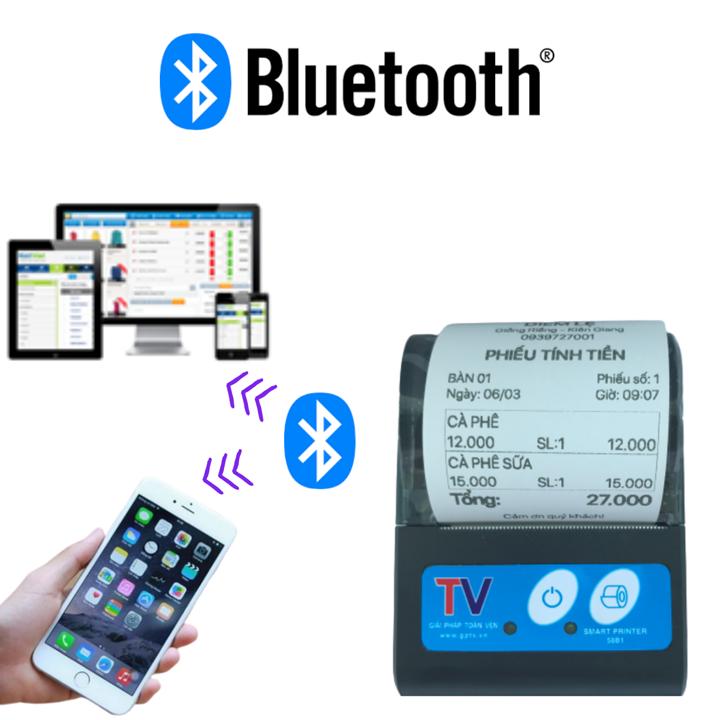 Máy in bill nhiệt cầm tay bluetooth cho Windows Android IOS Hỗ trợ in ViettelPay Pro, KiotViet – Tặng 5 cuộn giấy
