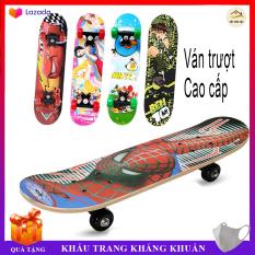 Ván trượt Cao cấp cho trẻ em Skateboard từ 2 – 6 tuổi, chất liệu gỗ phong ép cao cấp, nhiều hình siêu nhân họa tiết 3D cao cấp