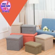 Ghế đôn kiêm hộp đựng đồ,Hôc đựng đồ kiêm ghế loại 38x38x38cm ( Màu kem,Màu xám )