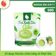 Bột trà xanh sữa Aiko thơm ngon, đặc biệt sử dụng matcha chính hãng Nhật Bản, không hương liệu , gói 50g
