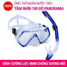 Kính lặn ống thở 1526 mắt KÍNH CƯỜNG LỰC, ống thở ngăn nước cao cấp POPO Collection