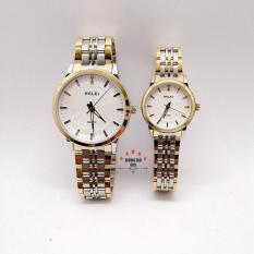Cặp Đồng hồ đôi nam nữ HALEI dây kim loại thời thượng ( HL552 dây demi mặt trắng ) – TẶNG 1 vòng tỳ hưu phong thuỷ