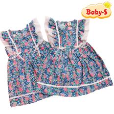 Đầm xòe cánh tiên cho bé gái 1-7 tuổi chất cotton nhẹ mát họa tiết hoa nhí màu sắc tươi tắn phối nơ ở eo đáng yêu Baby-S – SD065