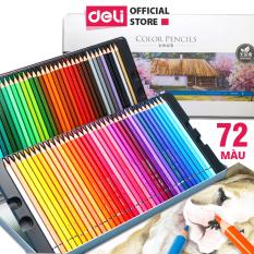 Bút chì màu gốc dầu hộp thiếc cao cấp Deli – 24/36/48/72 màu -màu chì khô,tươi sáng,có thể chồng màu- 6565 / 6566 / 6567 / 6568