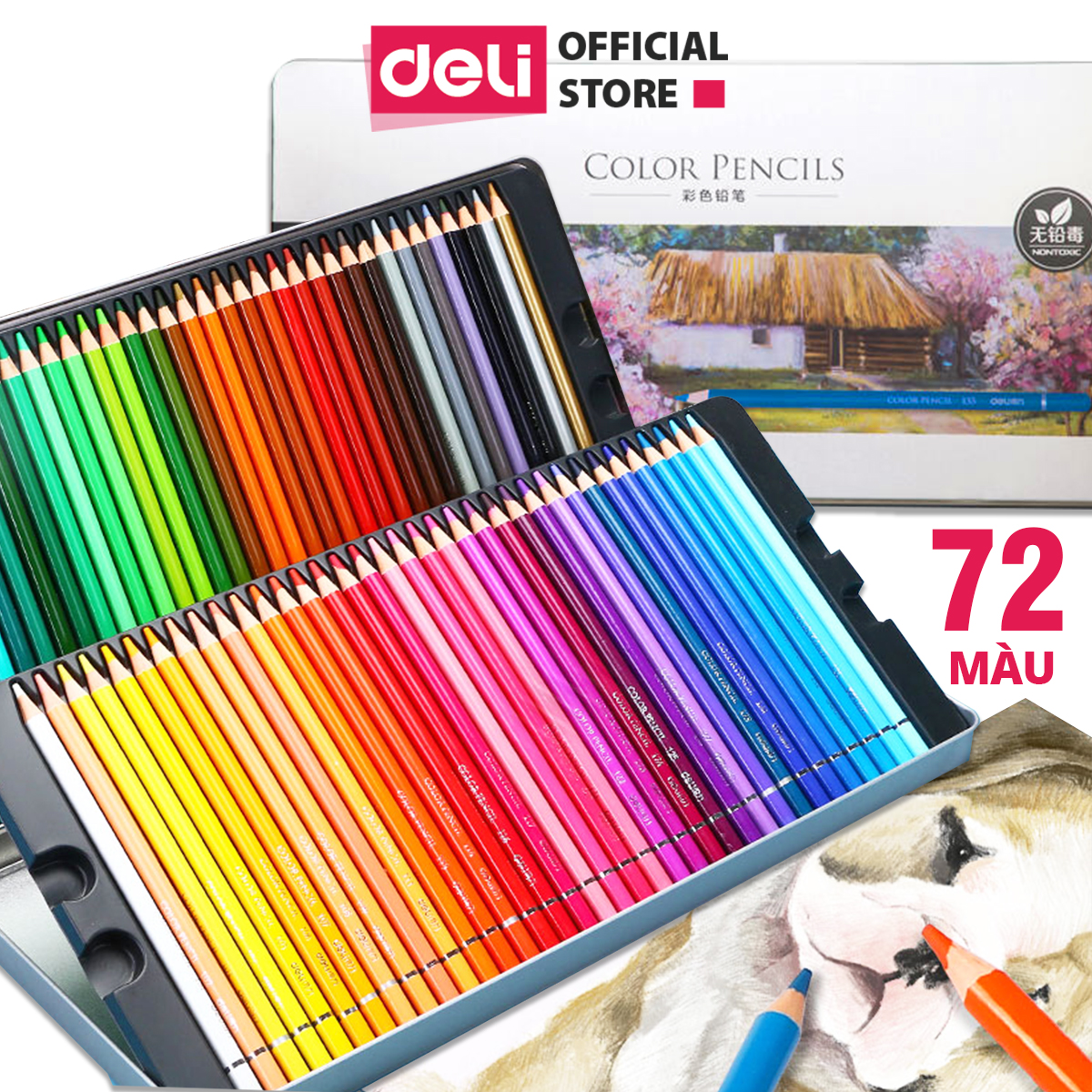 Bút chì màu gốc dầu hộp thiếc cao cấp Deli - 24/36/48/72 màu - màu chì khô, tươi sáng, có...