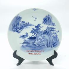 Đĩa trưng bày men trắng xanh – phong cách sơn thủy