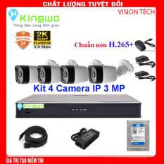 Trọn bộ camera 4 mắt – trọn bộ 4 camera-Bộ KIT 4 camera IP (4 Thân) 3.0MP KingWo – Có ổ cứng 500G, chống nước-Bảo hành 2 năm 1 đổi 1-Bộ 4 Camera Hikvision – Trọn bộ 4 mắt camera – Trọn bộ camera giám sát 4 mắt – Phụ kiện đầy đủ