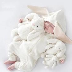Body dài tay liền thân mũ tai thỏ, body dài tay cotton cho bé trai và bé gái sơ sinh từ 3-17kg, hàng đẹp xuất nhật-BD43