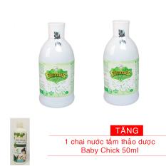 Bộ 2 chai Nước tắm thảo dược ELEMIS 200ml cho trẻ sơ sinh chống rôm sẩy Tặng 1 chai nước tắm thảo dược Baby Chick 50ml