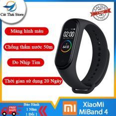 XiaoMi MiBand 4 đồng hồ thông minh band AI Màng hình 7 sắc Đo nhịp tim đo huyết bước chân app tập thể dục chống nước sâu 50m thời gian sử dụng lên tới 20 ngày Xiaomi mi band 4