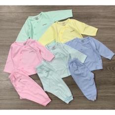 Bộ quần áo dài tay Unchi vạt chéo vải sợi tre cho bé sơ sinh, bộ quần áo sơ sinh