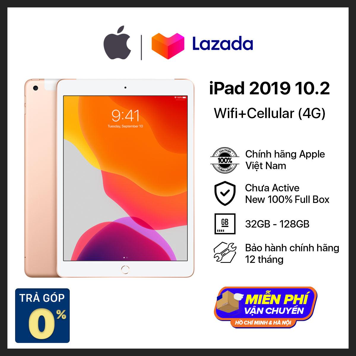 Máy Tính Bảng iPad Gen 7 (2019) 10.2 inch – WiFi + Cellular(4G) – Hàng Chính Hãng Việt Nam – Mới 100% (Chưa Kích Hoạt) – Trả Góp 0% – Màn Hình Tương Thích Apple Pencil thế hệ 1 – Chip A10 Mạnh Mẽ – Hệ điều hành iPadOS