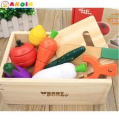Bộ đồ chơi cắt hoa quả gỗ xuất Nhật có khay đựng cao cấp cho bé