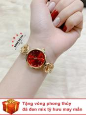 Đồng hồ nữ HALEI dây lắc thời trang ( Dây vàng mặt đỏ ) – TẶNG 1 vòng tỳ hưu phong thuỷ
