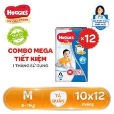 Bỉm/Tã quần Huggies – Combo tiết kiệm 120 miếng cho 1 tháng sử dụng – Size M (6-11kg) (Đệm mây co giãn) – Giới hạn 5 sản phẩm/khách hàng