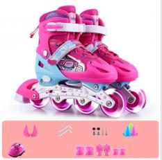 Giầy trượt patin trẻ em có đèn flash tặng bảo vệ tay chân màu hồng
