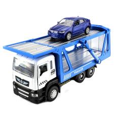 Đồ chơi xe vận chuyển ô tô KAVY gồm 2 xe bằng hợp kim có nhạc và đèn – màu xanh