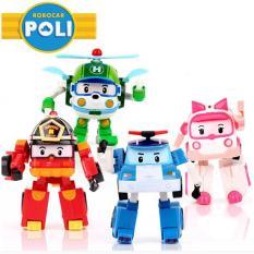 Đồ chơi hộp 4 nhân vật biệt đội robocar poli biến hình thành ô tô và robot
