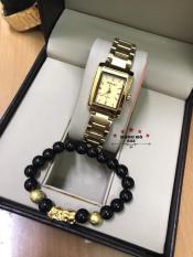 Đồng hồ nữ HALEI dây thép thời thượng ( HL465 Dây vàng mặt vàng ) – TẶNG 1 vòng tỳ hưu phong thuỷ