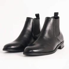 Giày Nam Chelsea Boot Cao Cổ Cao Câp UDANY – GCN08 – Da Bò Thật Trơn Xịn Không Nhăn Màu Đen
