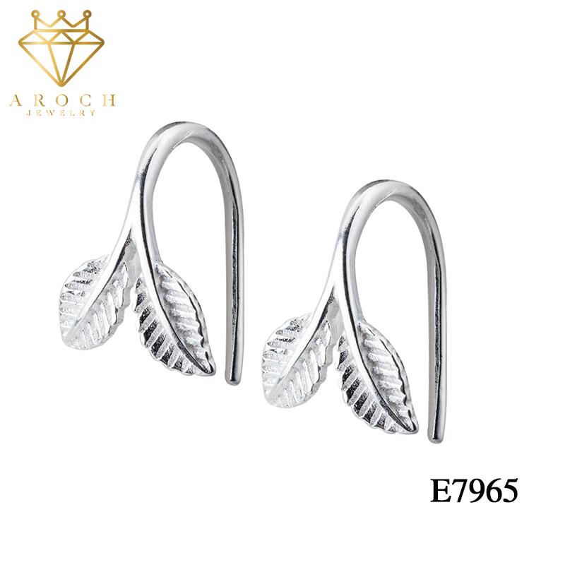 Khuyên tai bạc Ý s925 2 lá E7965 – AROCH Jewelry