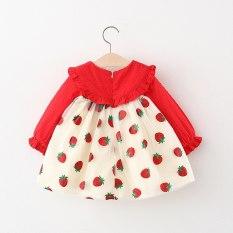 [MẪU MỚI UPDATE] Váy dài tay bé gái dâu tây đỏ kèm 2 nơ cực xinh – VBG-Dâu-Tây-2-nơ