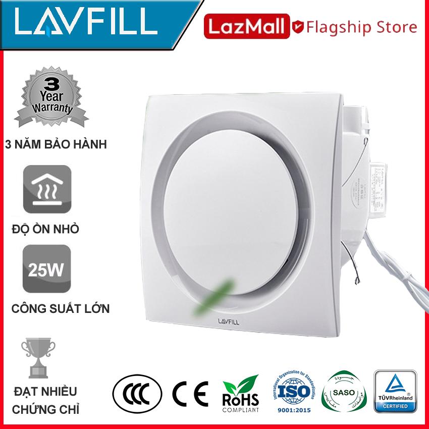 Quạt thông gió âm trần 250X250 mm, Quạt hút âm trần nhà tắm, phòng vệ sinh với BỀ MẶT QUẠT PHẲNG, dễ vệ sinh lau chùi, không bám bẩn, không ồn hãng LAVFILL LFCV-12D